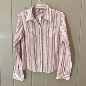 Aeropostale Pink & White Stripe Button Down